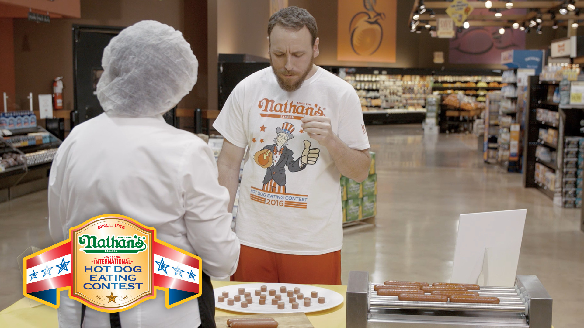 Joey Chestnut Takes Free Samples of Nathan's Famous Seriously