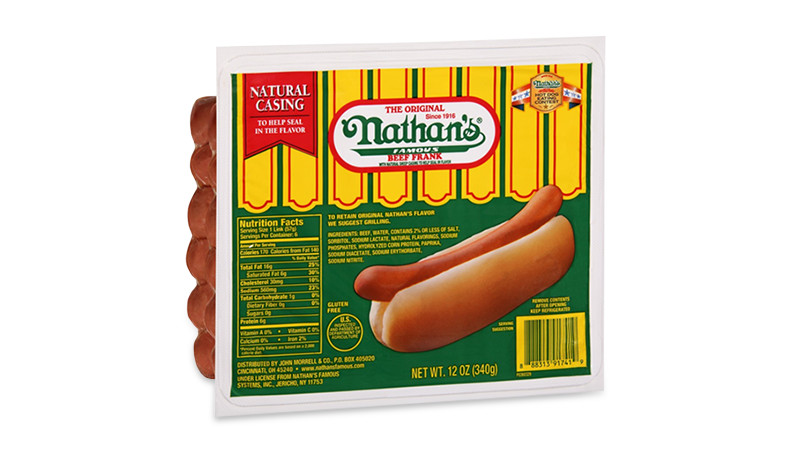package of hot nathan's famous hot dogs