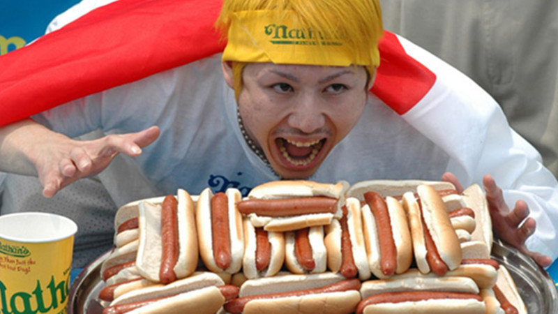 Takery Kobayashi after setting the hot dog eating contest record with 50 hot dogs under 10 minutes