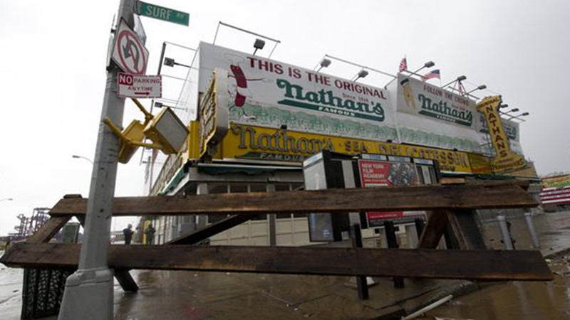 nathan's famous store closed due Hurricane Sandy