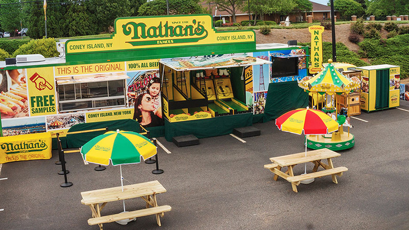 Nathan's Famous mobile tour stand